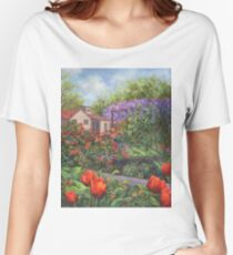 Garden with Tulips and Wisteria Women's Relaxed Fit T-Shirt