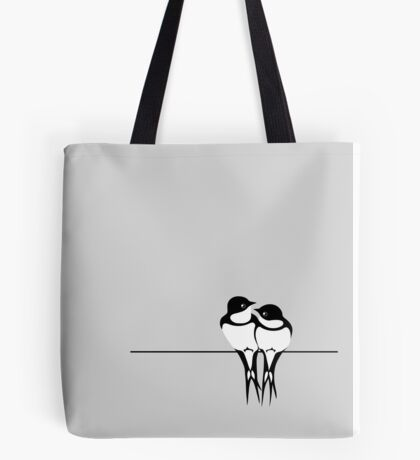 Love birds on a wire Tote Bag