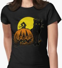 Still Life with Feline & Gourd Women's Fitted T-Shirt