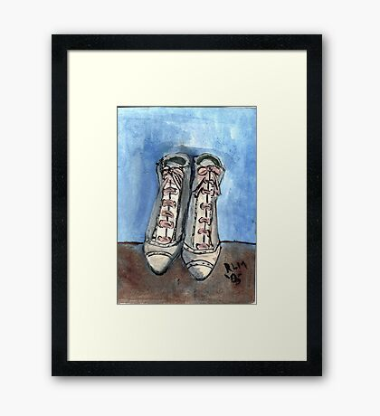 High Laced Boots Framed Print