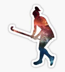Galactic Field Hockey Girl Sticker