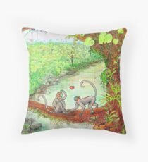 Monkey Love in the Jungle - color Throw Pillow