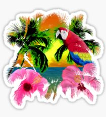 Palm Trees And Island Sunsets Sticker