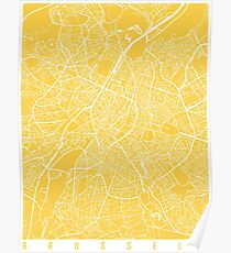 Brussels map yellow Poster