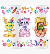 Cute set of animals for kids Poster