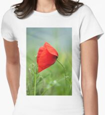 Wild red poppy Women's Fitted T-Shirt