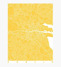 Dublin map yellow Photographic Print