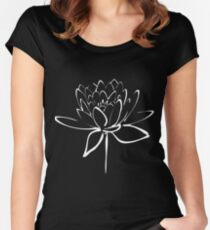 Lotus Flower Calligraphy (White) Women's Fitted Scoop T-Shirt
