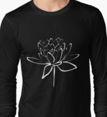 Lotus Flower Calligraphy (White) Long Sleeve T-Shirt