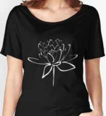 Lotus Flower Calligraphy (White) Women's Relaxed Fit T-Shirt