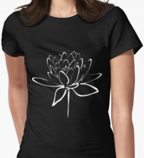 Lotus Flower Calligraphy (White) Women's Fitted T-Shirt