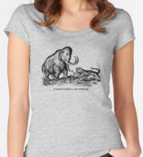 Mammoth confronts a sabre-toothed tiger Women's Fitted Scoop T-Shirt