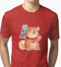 Rude Shiba Dog 1 - Food Consumed Tri-blend T-Shirt