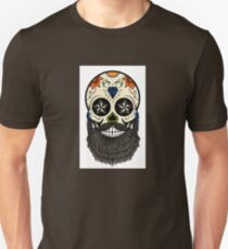 Sugar skull with beard. Unisex T-Shirt