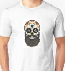Sugar skull with beard. Unisex T-Shirt