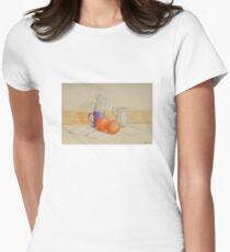 Still life with cups and oranges Womens Fitted T-Shirt