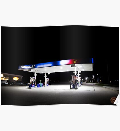 Ultramar - Gas station by night Poster
