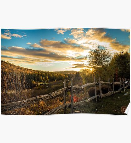 Autumn Sunset Landscape Poster