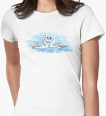 Loveheart Swans Women's Fitted T-Shirt