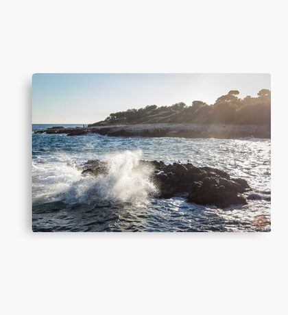 Waves Crashing on Rocks - Southern France Canvas Print
