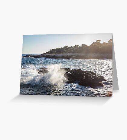 Waves Crashing on Rocks - Southern France Greeting Card
