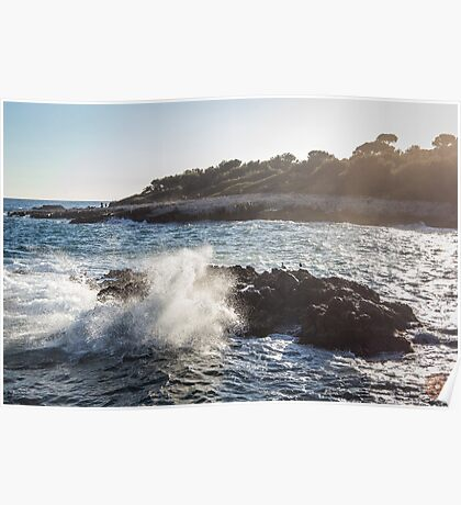 Waves Crashing on Rocks - Southern France Poster