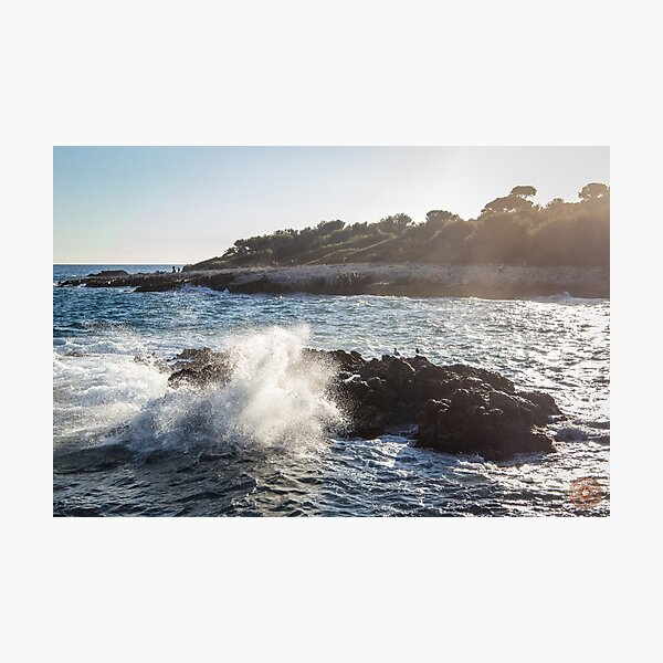 Waves Crashing on Rocks - Southern France Photographic Print