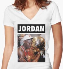 d24b1ce060209a Michael Jordan (Championship Trophy) Women s Fitted V-Neck T-Shirt