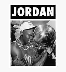 Michael Jordan (Championship Trophy BW) Photographic Print