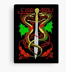 Celtic Sword and Dragons Canvas Print