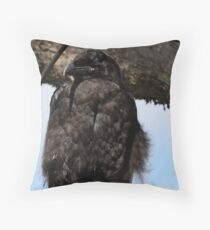 Fledgling Raven by the Yellowstone Throw Pillow
