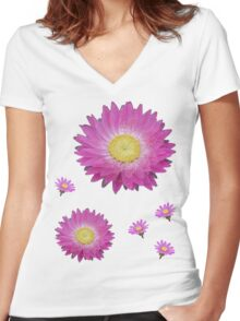 Pink Daisies Women's Fitted V-Neck T-Shirt