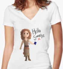 Hello Sweetie River Song Women's Fitted V-Neck T-Shirt