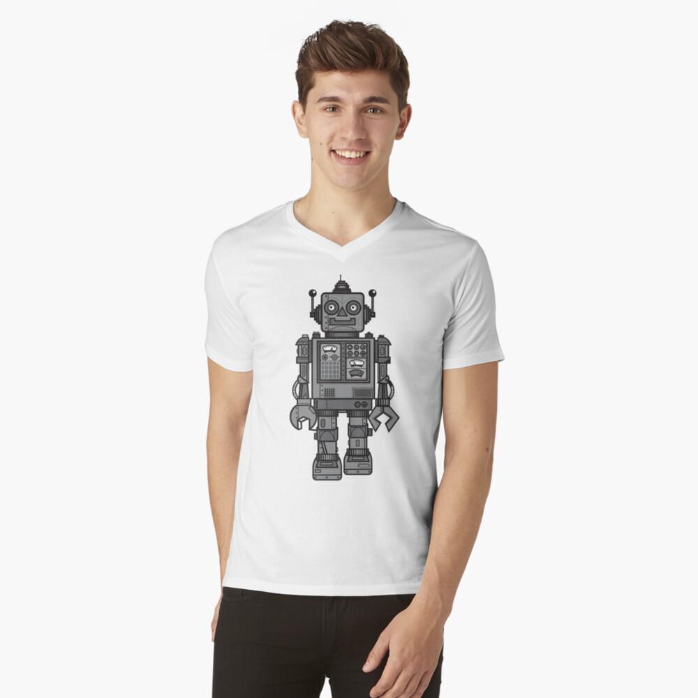 Weinlese-Roboter T-Shirt mit V-Ausschnitt