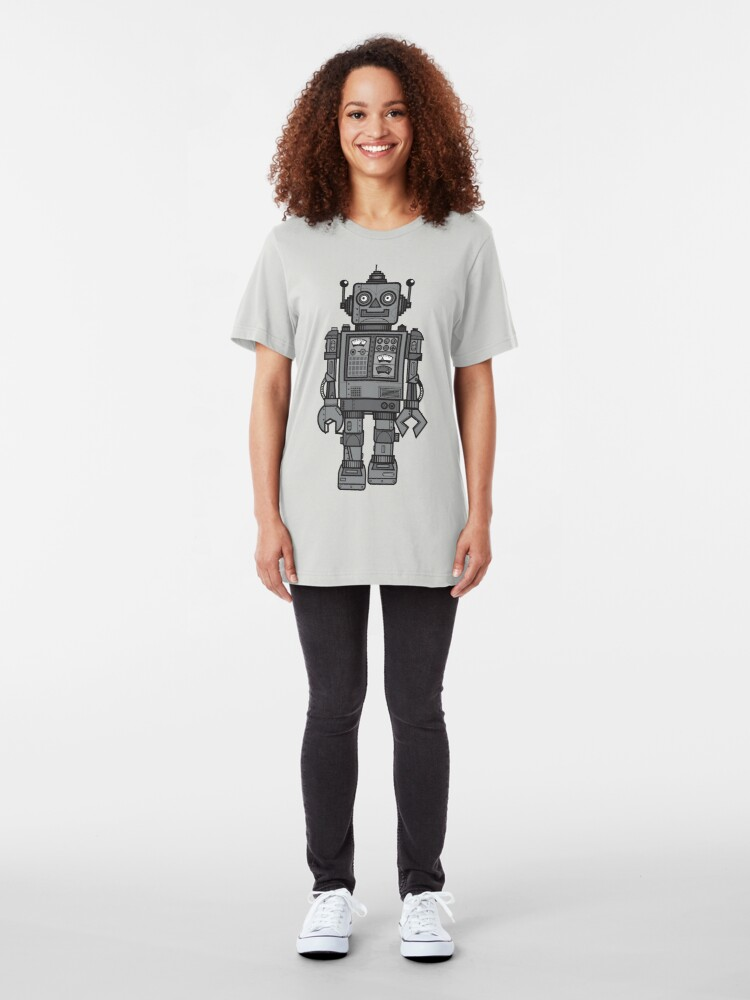Alternative Ansicht von Weinlese-Roboter Slim Fit T-Shirt