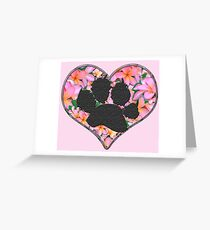Paw Print in Heart with Flowers Greeting Card