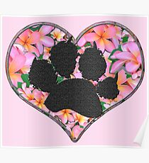 Paw Print in Heart with Flowers Poster