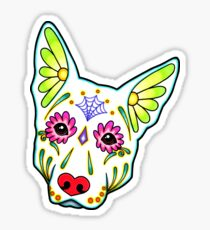 Day of the Dead German Shepherd in White Sugar Skull Dog Sticker