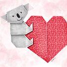 Cuddly Koala and Heart Origami by JumpingKangaroo