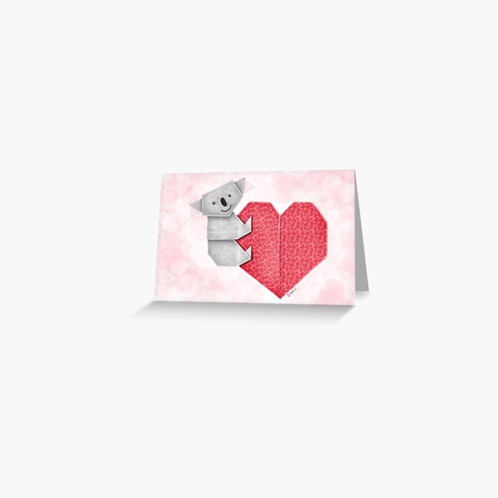 Cuddly Koala and Heart Origami Greeting Card