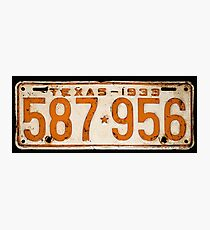 Bonnie & Clyde License Plate (detailed reconstruction) Photographic Print