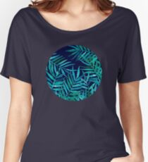 Watercolor Palm Leaves on Navy Women's Relaxed Fit T-Shirt
