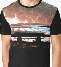 Water Takes over the Beach Bench Graphic T-Shirt