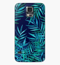 Watercolor Palm Leaves on Navy Case/Skin for Samsung Galaxy