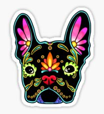 Day of the Dead French Bulldog in Black Sugar Skull Dog Sticker