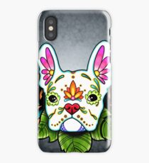 Day of the Dead French Bulldog in White Sugar Skull Dog iPhone Case/Skin