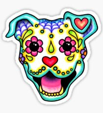 Smiling Pit Bull in White - Day of the Dead Pitbull - Sugar Skull Dog Sticker