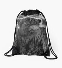 Highland Cow in Scotland Drawstring Bag