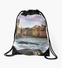 Vernazza Waves Drawstring Bag