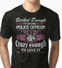 Occupation police officer blue line police officer ninja police office Tri-blend T-Shirt